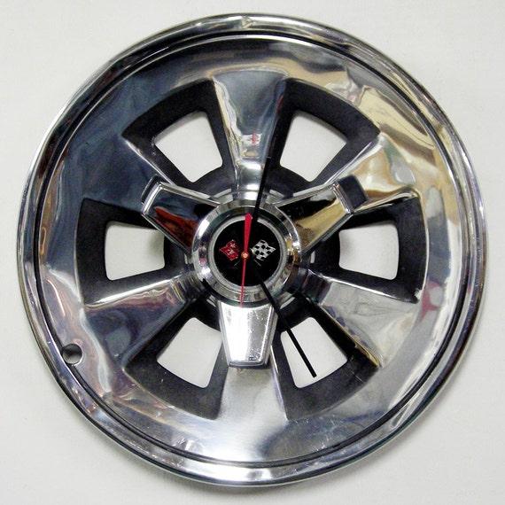 1965 Chevrolet Corvette Spinner Wall Clock - Chevy Vette Hubcap Clock