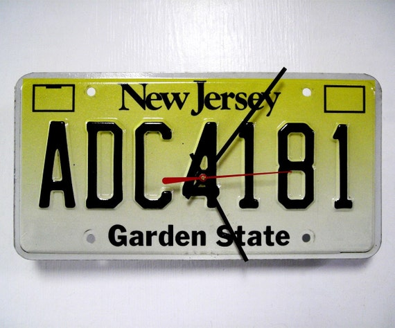 Recycled New Jersey License Plate Wall Clock - Jersey Shore Time in NJ