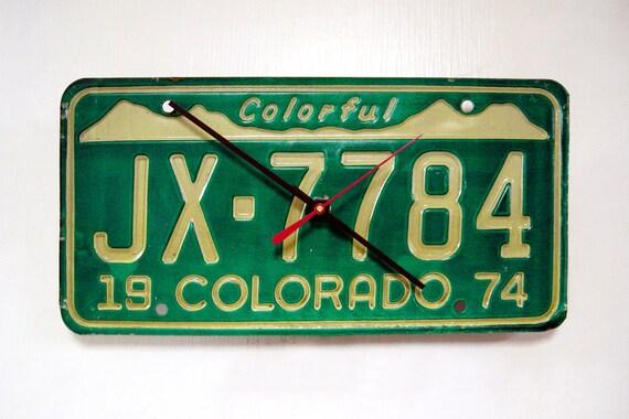 Retro Colorado License Plate Clock - 1974 Colorful CO License Tag Clock