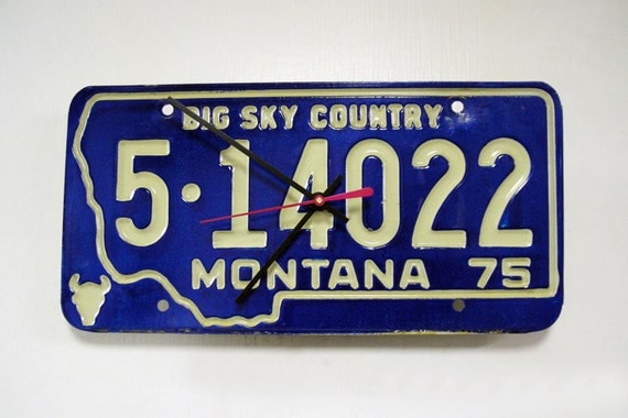 Montana License Plate Wall Clock - MT License Tag Clock - Retro and Recycled