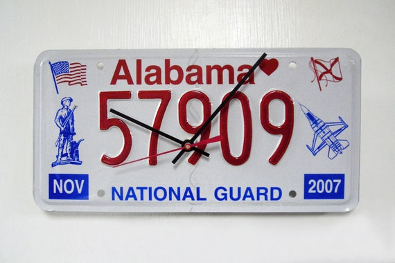 Alabama Wall Clock - National Guard License Plate - Recycled AL License Tag - Patriotic - SALE