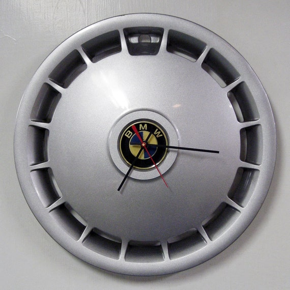 1984 - 1992 BMW Wall Clock -  325e 325i 528e Hubcap Clock - Metallic Silver Clock - Automotive Clock - 1985 1986 1987 1988 1989 1990 1991