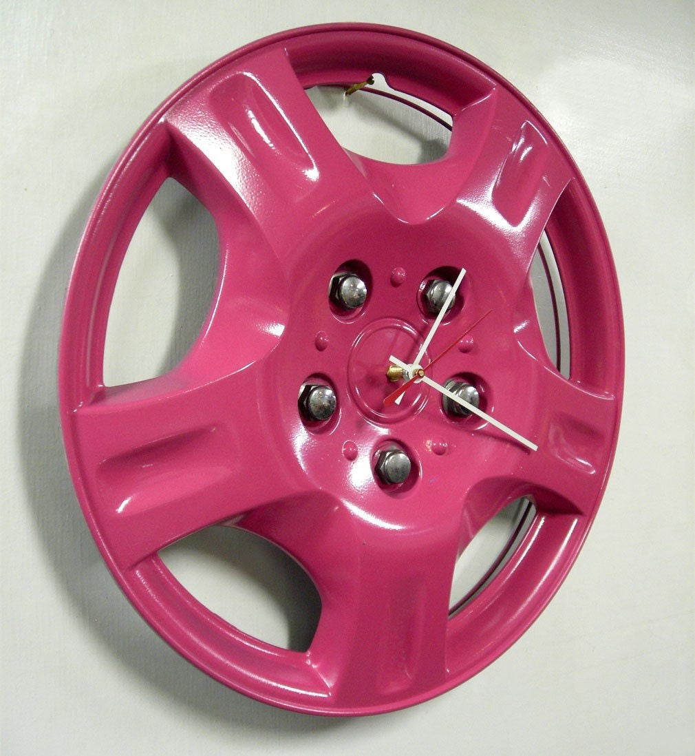 Hot Pink Wall Clock From Recycled Hubcap Eco Clock Teen