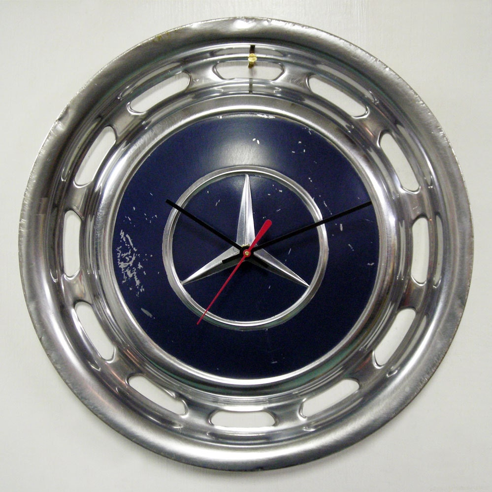 Mercedes hubcap wall clock navy blue hub cap zoom amipublicfo Gallery