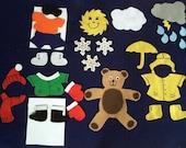 29 Pc. Weather Bear Flannel Board Felt Story Set/Felt Stories/Storytelling/Teacher Supplies/Library/Daycare