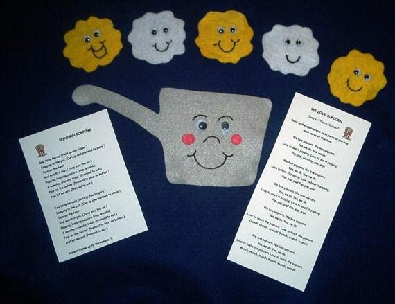 Popcorn Popping Flannel Board Felt Storytelling Set with 2 rhymes