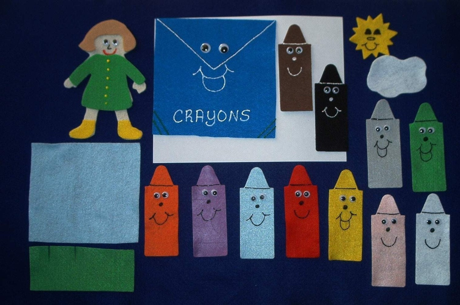 Crayon box that talked flannel board felt story by feltresources