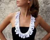Necklace, WHITE AIR  -   t-shirt yarn, recycled yarn, crocheted necklace, white color
