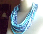 Necklace, AFRICAN DREAM  -  t-shirt yarn, recycled yarn, necklace in skyblue and striped gray, skyblue and black colors