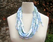 Necklace, Rustic Line - recycled fiber in green, white and skyblue