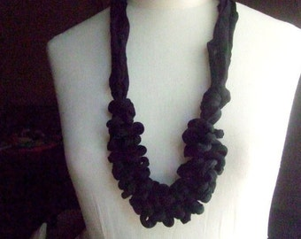 Necklace, PIERROT  -   t-shirt yarn, recycled yarn, necklace in black color