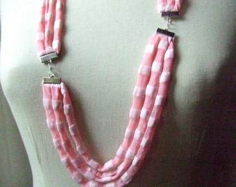 Necklace, CHIC  -    t-shirt yarn, recycled yarn, necklace in striped pink color