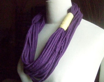 Necklace/scarf, AFRICAN DREAM  -  t-shirt yarn, recycled yarn, necklace in violet and yellow colors