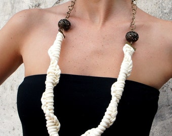 Necklace, TRIBAL  - t-shirt yarn, recycled yarn, necklace in ivory color