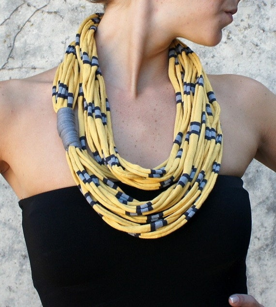 Necklace/scarf - AFRICAN DREAM - t-shirt yarn, recycled yarn, in striped yellow, gray and black colors
