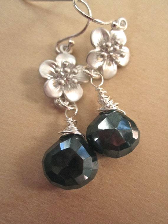 Green Onyx Onion Briolette Cherry Blossom Sterling Earrings