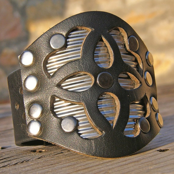 My Superpower is Recycling  Recycled Leather and Metal Cuff