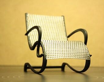 Art Nouveau style light metal armchair , 1/12 miniature for dollhouses