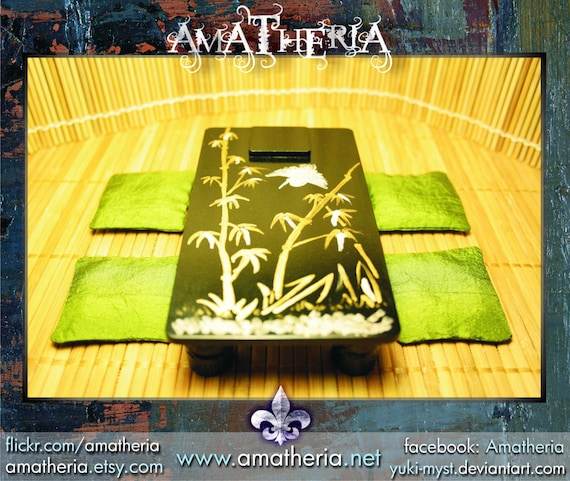 Miniature Antique Black Japanese low table, handpainted, plus 4 silk pillows, for dollhouses (bamboo forest)