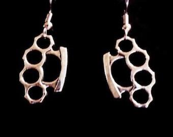 Brass Knuckle Earrings (Surgical Steel Hooks)