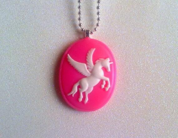 Pink Unicorn Cameo Necklace - SALE