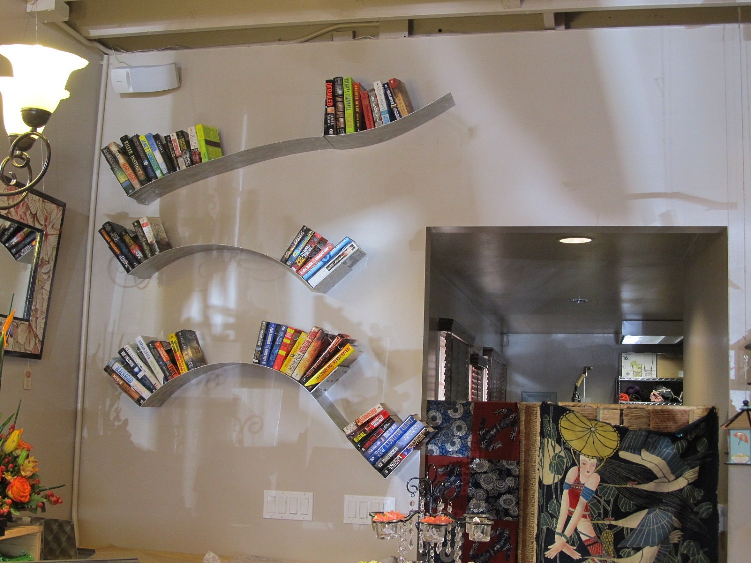 Hanging wave wall bookshelf by kufadesigns on etsy for Hanging bookshelves