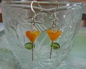 Donia's N2Beadz... Orange and Yellow Glass Flower Earrings