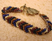 Seed Bead Bracelet with Gold Leaf Toggle