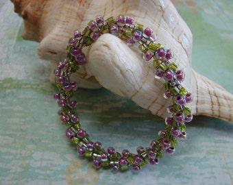 Bead Crochet Spiral Rope Purple and Green Seed Bead Bracelet