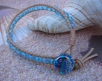 Blue Fish Button Seed Bead Leather Wrap Bracelet