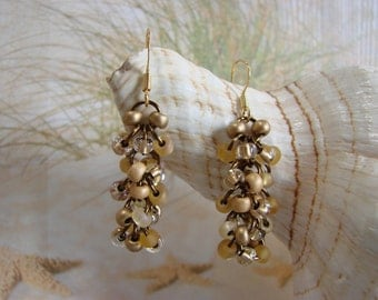 Elegant Chainmail Brown and Gold Seed Bead Earrings