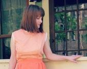 Peachy delight polka dot dress, 1960s homemade vintage, small to medium