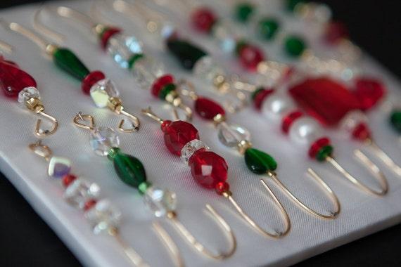 Christmas Tree Ornament Hooks Free Shipping : Christmas beaded ornament hanger hooks red and by justhangon