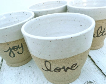 Small Stoneware Cups; Mini Tumblers; Stacking cups; Ceramic Cups; Toasting Tumblers