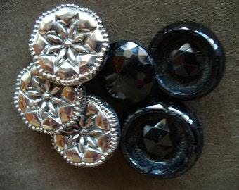 Glass buttons, black and silver, vintage, round