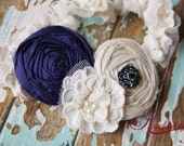 Old, New, Borrowed, Blue Wedding Garter in Sapphire Dusk SET (with toss garter)- perfect for brides to be