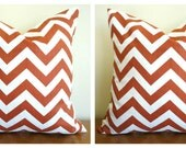 """Pillow Cover-PAIR 18"""" x 18"""" Rust and Natural"""