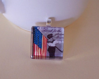 Glass Tile American Flag Boy Pendant, Necklace, Key Ring, Magnet, Stained Glass