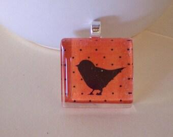 Glass Tile Blackbird on Orange Polkadot Background, Necklace, Key Ring, Blackbird, Halloween Tile, Stained Glass Tile
