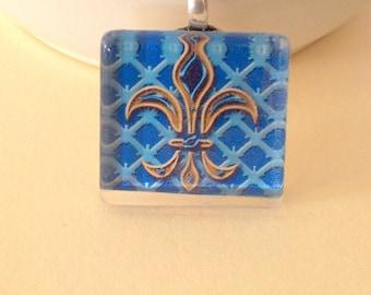 Stained Glass Pendant, Necklace, Magnet, Fleur De Lis, Keyring