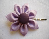 Hairclip Flower Fabric Violet Color Bobby pin