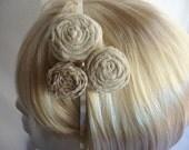 Headband Rosette Flower Fabric Linen Gingham Vintage