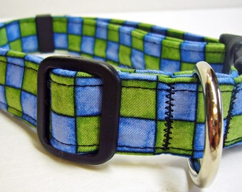Doodlebug Dud's Blue and Green Plaid Collar