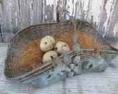 Vintage blue farmhouse gathering basket