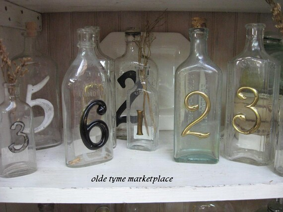 Vintage bottles with numbers....wedding table markers set of 10....TREASURY ITEM