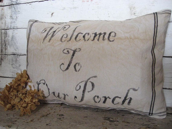 Handmade Porch Swing Pillow....Welcome to Our Porch...Treasury Item...in Black
