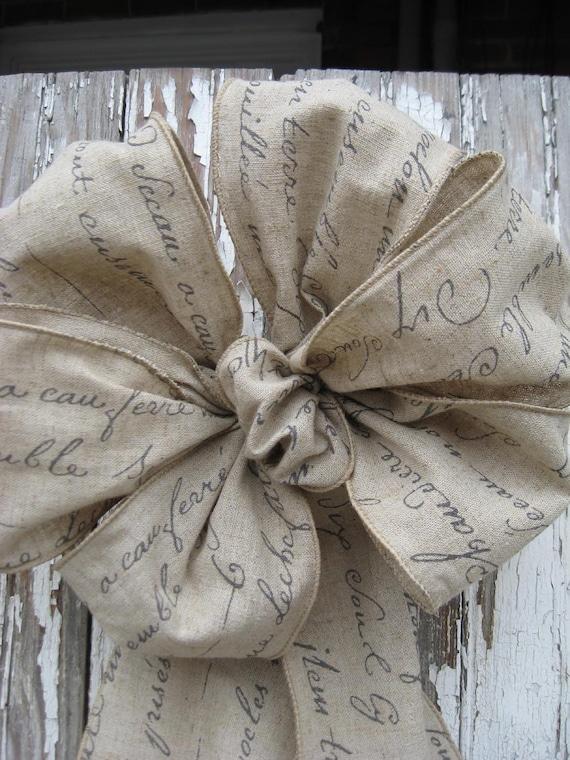 Gray on tan FRENCH SCRIPT LINEN  Ribbon  Wreath Bow Wedding Bow