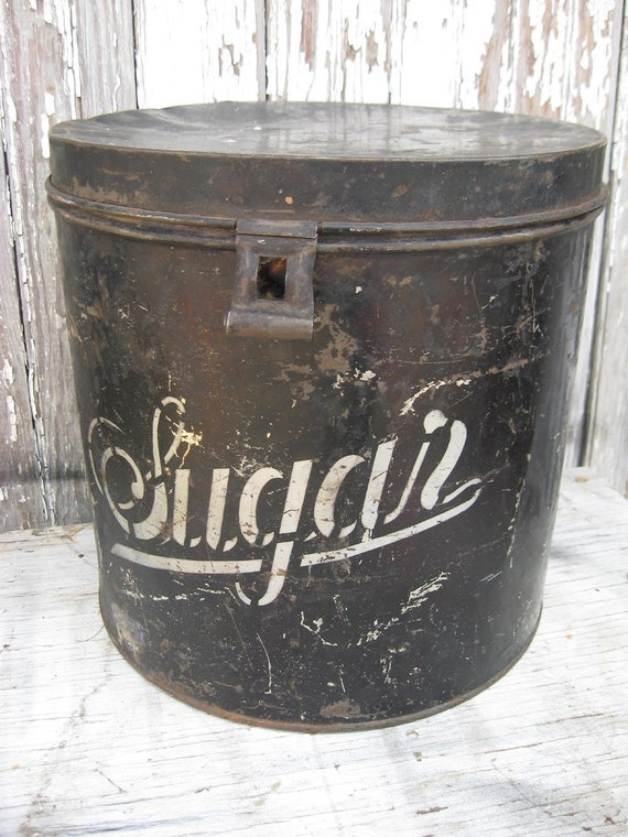 Large VINTAGE SUGAR TIN canister  black and white