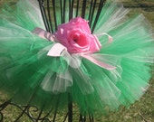 Tiniest Rose Garden Tutu - by Cuddlehugs With Free Coordinating Flower Clip - Newborns Infants Toddlers Girls