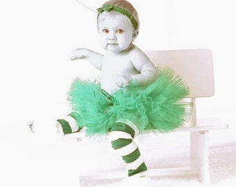 Tiniest Green Carnation Tutu For Newborns With Free Coordinating Flower Clip - Infants